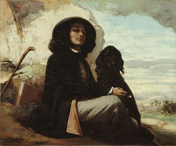 Autoritratto con cane nero- Courbet