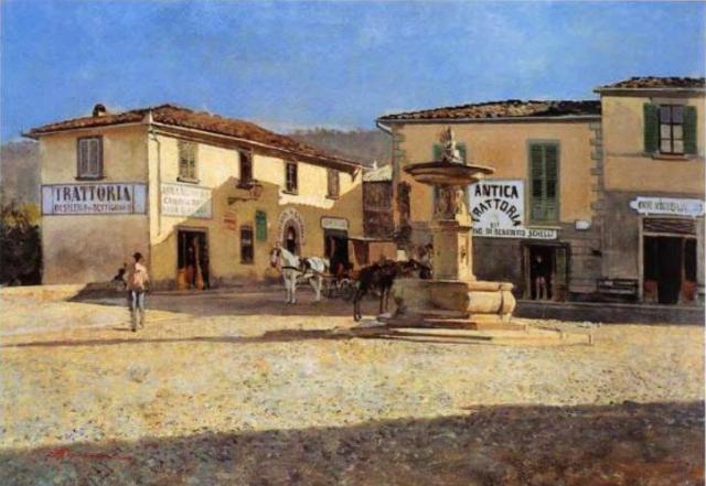 La piazza di Settignano- Signorini