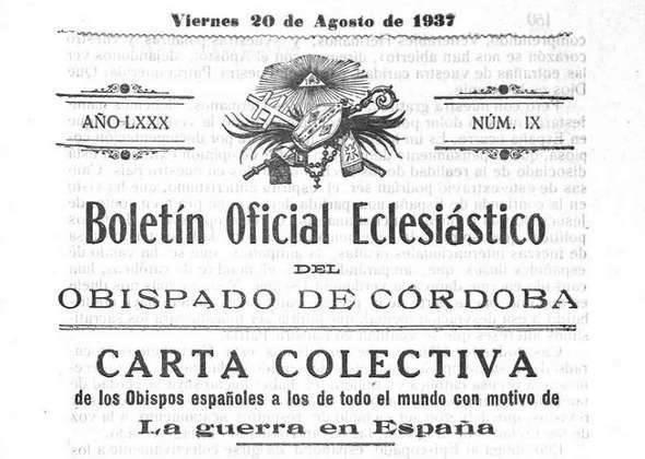Boletín oficial Eclesiástico: la postura de la iglesia ante la guerra