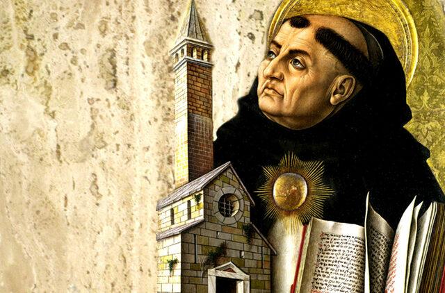 Tomas de Aquino basa su obra en la enseñanza de la iglesia y la obra de Aristóteles.