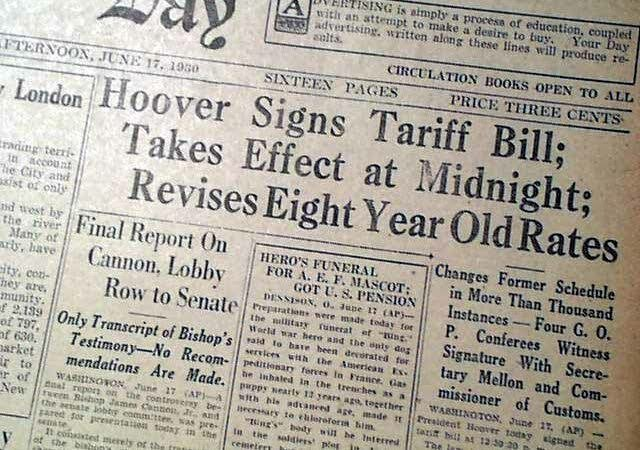 The Smoot Harley Tariff Act of 1930