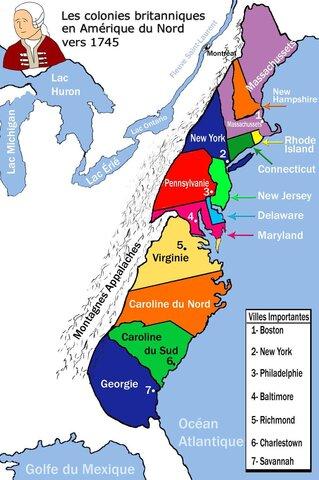 Prospérité dans les 13 colonies.