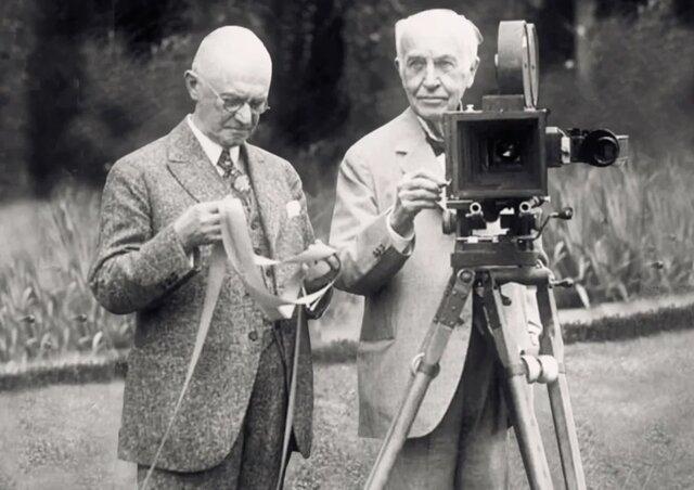 Демонстрация первого в мире кинофильма.
