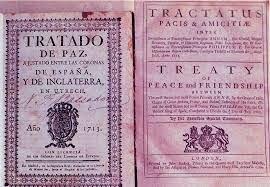 España cede los Países Bajos y sus territorios en Italia a Austria, Sicilia a Saboya, y Gibraltar y Menorca a Gran Bretaña.