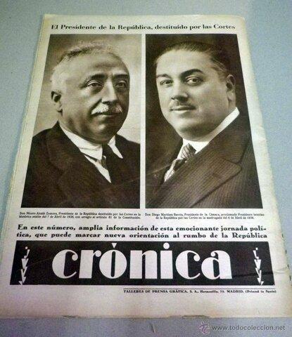 Destitución de Alcalá Zamora sustituido por Azaña