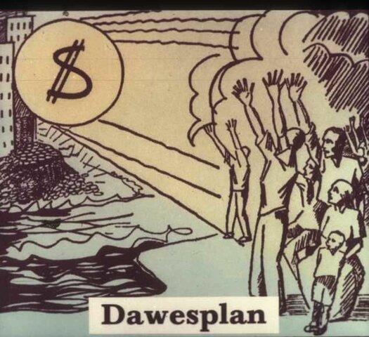 Plan Dawes (Se acuerda una solución a las reparaciones alemanas y se establecen medidas para mejorar el mercado financiero mundial/Comienza la recuperación de Alemania con la Creación de una nueva moneda, el reichsmark.