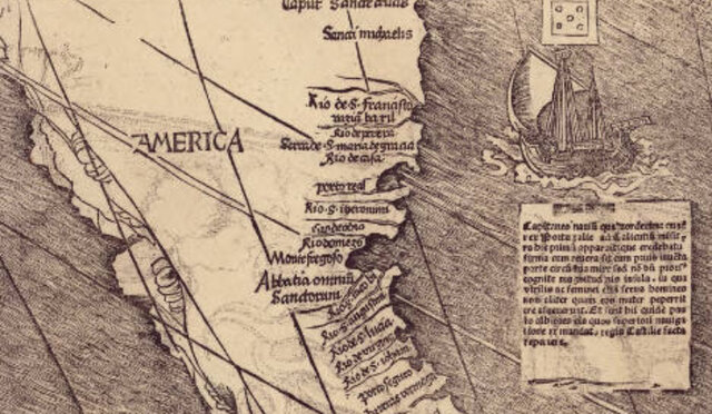 "German mapmaker names the ""New World"""