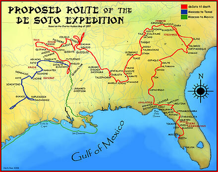 Present-day Southern United States is explored by Hernando De Soto
