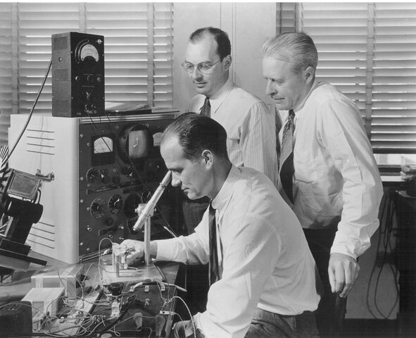 The Nobel Peace Prize was awarded to William Shockley, John Bardeen, and Walter Houser Brattain for inventing the transistor.