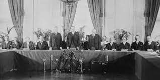 More than sixty nations sign the Kellogg-Briand Pact pledging not to go to war with one another, except in matters of self-defense.