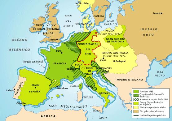 Máxima extensión del imperio napoleónico