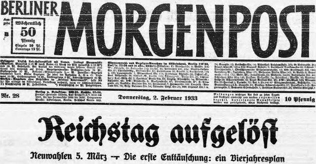Reichspräsident Hindenburg folgte dem Wunsch Hitlers und seines Kabinetts und löste den Reichstag vorerst auf. Die Neuwahlen wurden auf den 05. März 1933 angesetzt. Die NSDAP erhoffte sich somit, die absolute Mehrheit im Parlament zu erlangen.
