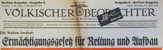 """Der Reichstag stimmte über das """"Gesetz zur Behebung der Not von Volk und Reich"""" (auch Ermächtigungsgesetzt genannt) ab. Es ging dabei darum, den letzten Schritt zur Diktatur zu begehen und die legislative Gewalt in die Hände der Reichsregierung abzugeben."""