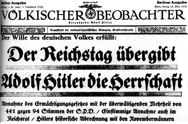 Am Folgetag verkündete man feierlich, dass sich der Reichstag am Vortag mit 444 Stimmen Ja gegen 94 Stimmen Nein (allesamt von der SPD) zur Annahme des Ermächtigungsgesetz entschlossen hat. Das Parlament entmachtet sich somit im Grunde genommen selbst.