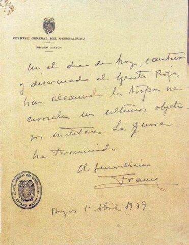 El general Franco hace público el último parte bélico el día 1