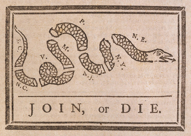 Join or Die by Benjamin Franklin