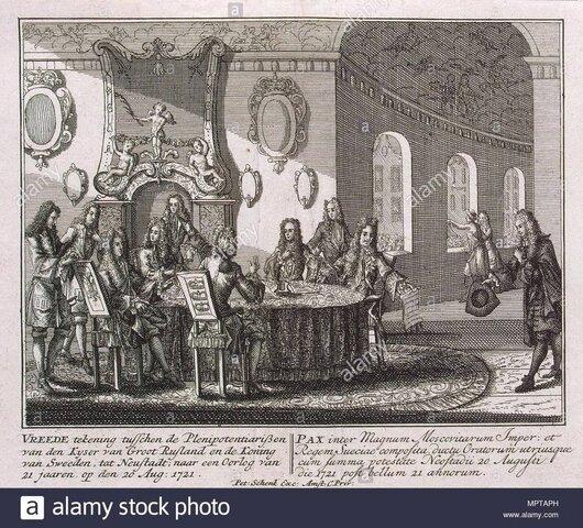 Tratado de Nystad: Livonia, Estonia, Karelia e Ingria compradas a Suecia.