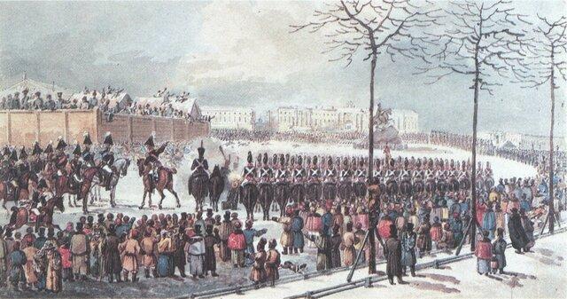 Se produce la Revuelta decembrista, tropas autocraticas querian que Constantino subiera al trono, tropas leales a Nicolas I combaten contra ellos en san Petersburgo. Nicolas negocia con los decembristas y logra acabar con la revuelta.