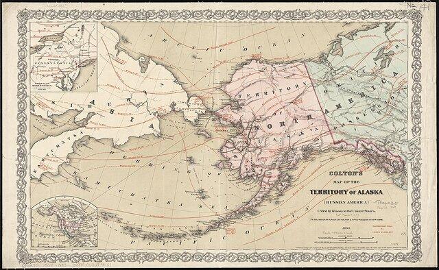 EEUU le propone a Rusia la venta de Alaska, Rusia la rechaza y empieza a explotar la zona, además de llevar tropas y civiles vivir rusos y siberianos allí.
