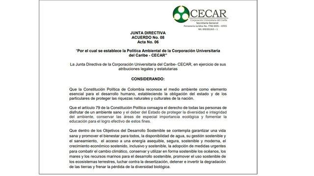 Aprobación Política Ambiental CECAR