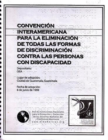 CONVENCIÓN INTERAMERICANA DE JUNIO 8 DE 1999