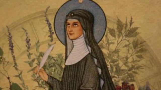 STA HILDEGARDA MUERE1098 1179 -Considerada una de las personalidades más influyentes, de la Baja Edad Media y de la historia de Occidente,2 es también de las figuras más ilustres del monacato femenino dotada de inteligencia y cultura f común
