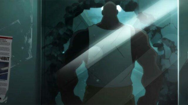 Winston, Tracer et Genji capturent DoomFist qui est emprisonné