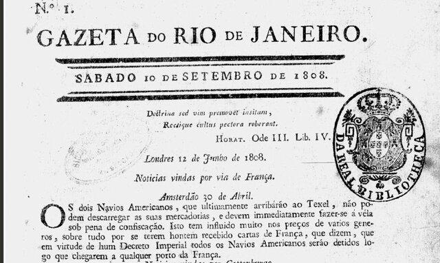 """Abertura do jornal """"Gazeta do Rio de Janeiro"""""""