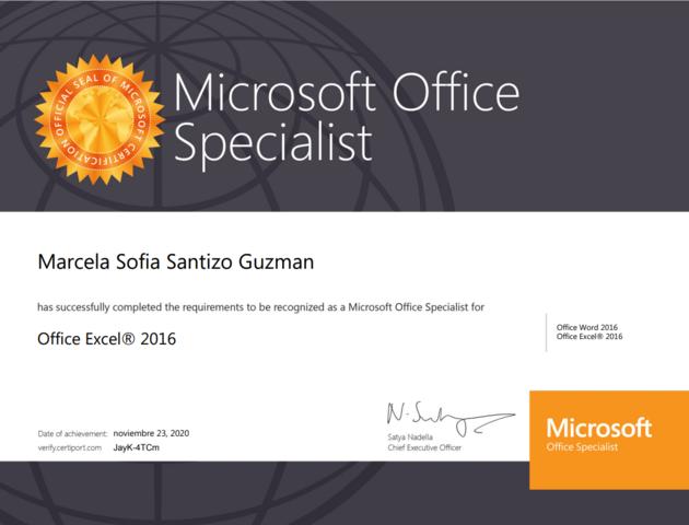 Certificación de Microsoft Excel