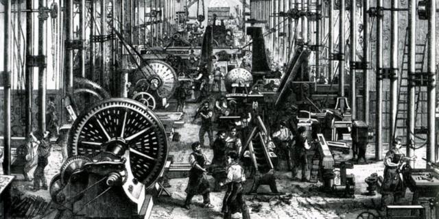 Revolución Industrial (1765) y la invención de la máquina de vapor por James Watt