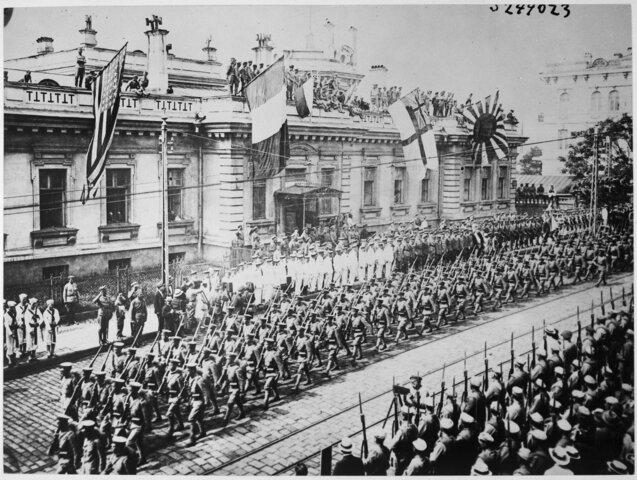 Desembarco de tropas estadounidenses, británicas, francesas y japonesas