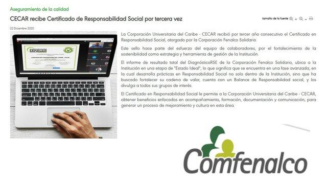 Certificación Comfenalco
