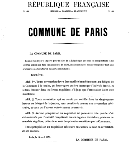 The Commission des Barricades outlines the appropriate form for a barricade