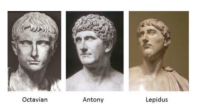 2. Triumvirat: Antonius, Lepidus, Oktavian