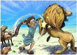 David defeats a lion