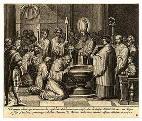 San Agustín Es bautizado por san Ambrosio