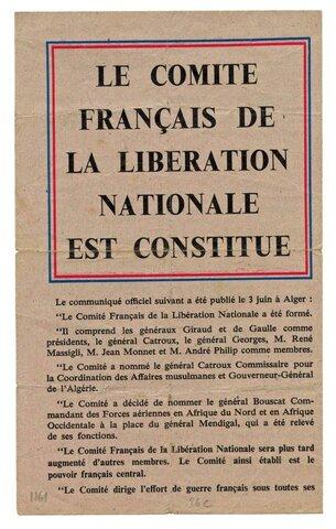 CRÉATION DU COMITÉ FRANÇAIS DE LA LIBÉRATION NATIONALE ou CONSEIL NATIONAL DE LA RÉSISTANCE