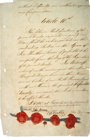 La signature du traité de Paris