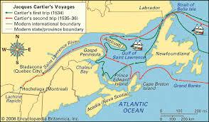 1534, Jacques Cartier au Canada.