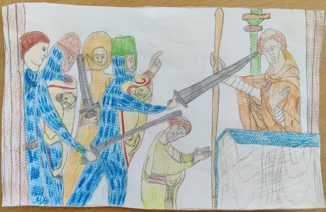 Thomas Becket quarrels with Henry II and is killed in the Canterbury cathedral