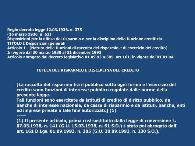 Il regio decreto legge del 12/03/1936