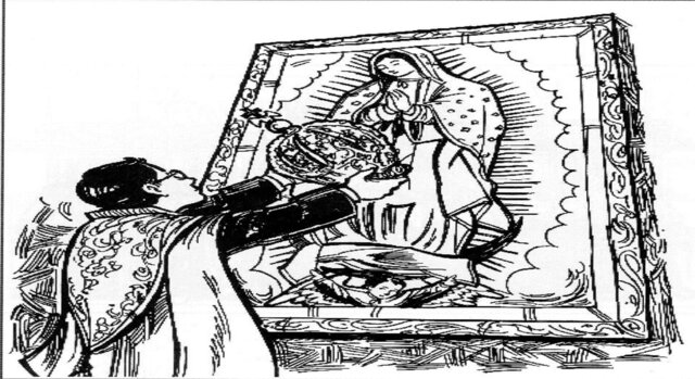 Corona a la virgen de Guadalupe.