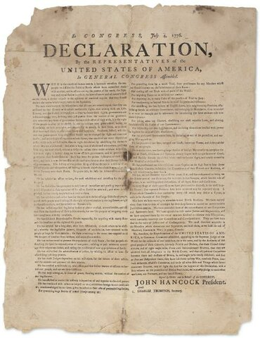 déclaration de l'indépendance américaine.