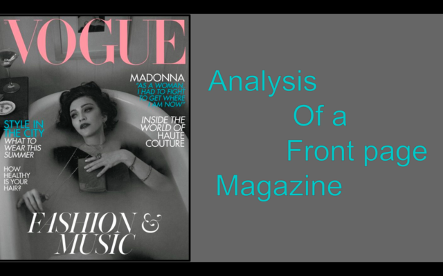 Analyses of a Front Cover Magazine