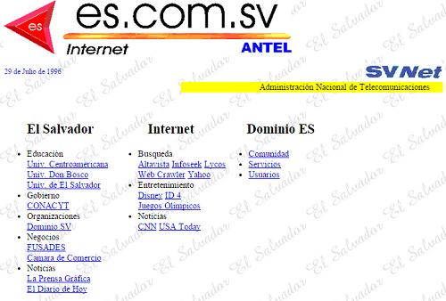 Aparecen los primeros sitios web nacionales (1996)