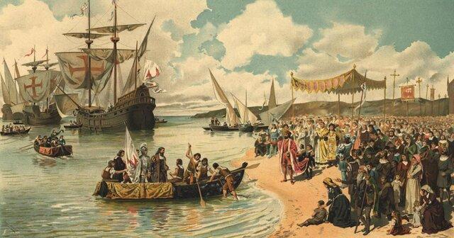 Llegada de la escuadra de Vasco da Gama a las Indias.