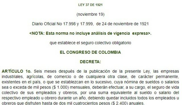 LEY 37 COLOMBIA