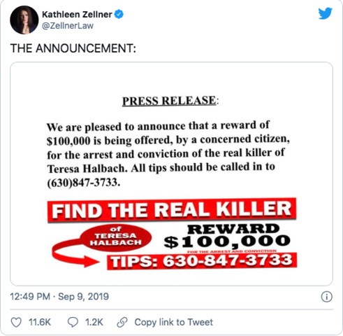 Kathleen Zellner tweets a reward of $100K for information about real killer