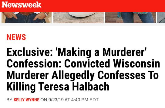 Inmate Joseph Evans, Jr.. confesses to murdering Teresa Halbach