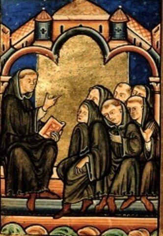 Aparece la escuela monástica, orientada hacia la vida religiosa y apartada del exterior